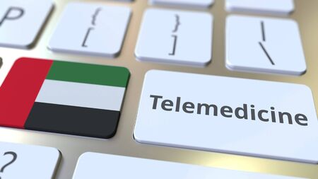 Telemedicine text and flag of the United Arab Emirates UAE on the computer keyboard. Remote medical services related conceptual 3D rendering