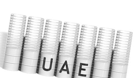 UAE country name on steel drums or industrial barrels for transporting liquid fuel, 3D rendering
