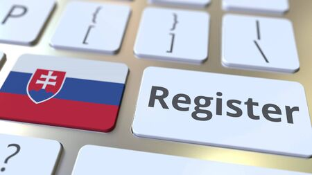 Register text and flag of Slovakia on the keyboard. Online services related 3D rendering