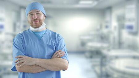 Portrait of a bearded doctor in the operating room