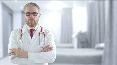 Concerned doctor in the modern hospital ward Imagens