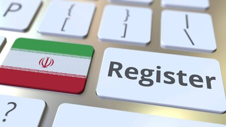 Register text and flag of Iran on the keyboard. Online services related 3D rendering Foto de archivo