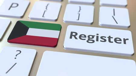 Register text and flag of Kuwait on the keyboard. Online services related 3D rendering Foto de archivo