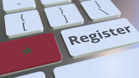Register text and flag of Morocco on the keyboard. Online services related 3D rendering