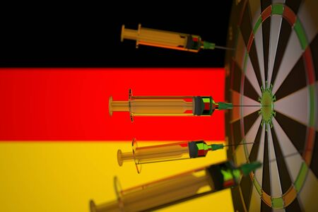 COVID-19 coronavirus disease vaccine syringes hit target near the German flag. Successful research and vaccination in Germany. Conceptual 3D rendering