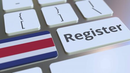 Register text and flag of Costa Rica on the keyboard. Online services related 3D rendering Foto de archivo