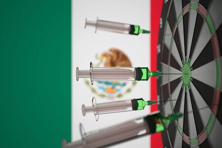 COVID-19 coronavirus disease vaccine syringes hit target against the Mexican flag. Successful research and vaccination in Mexico. Conceptual 3D rendering