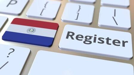 Register text and flag of Paraguay on the keyboard. Online services related 3D rendering Foto de archivo