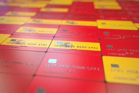 National flag of Spain on bank cards. Banking related 3D rendering Stock Photo