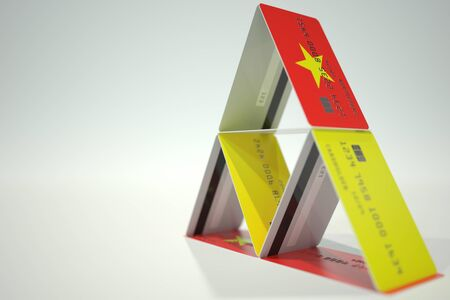National flag of Vietnam on credit card house, fictional data. Risky financial decisions related 3D rendering