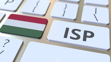 ISP or Internet Service Provider text and flag of Hungary on the computer keyboard. National web access service related 3D rendering Stock Photo