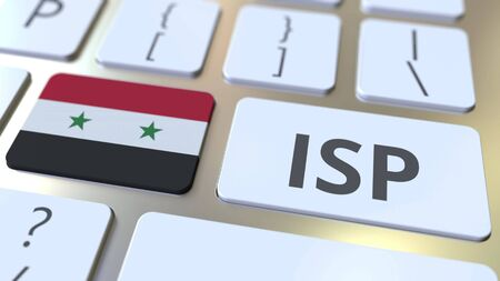 ISP or Internet Service Provider text and flag of Syria on the computer keyboard. National web access service related 3D rendering