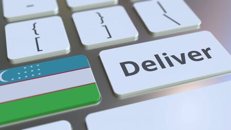 Deliver text and flag of Uzbekistan on the computer keyboard. Logistics related 3D rendering Archivio Fotografico - 149592178