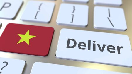 Deliver text and flag of Vietnam on the computer keyboard. Logistics related 3D rendering Archivio Fotografico - 149592180