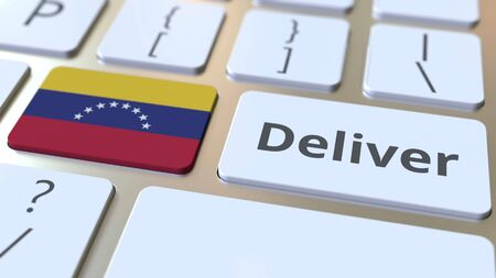 Deliver text and flag of Venezuela on the computer keyboard. Logistics related 3D rendering Archivio Fotografico - 149592181