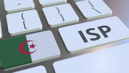 ISP or Internet Service Provider text and flag of Algeria on the computer keyboard. National web access service related 3D rendering Archivio Fotografico - 149592182