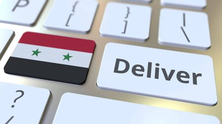 Deliver text and flag of Syria on the computer keyboard. Logistics related 3D rendering Archivio Fotografico - 149592187