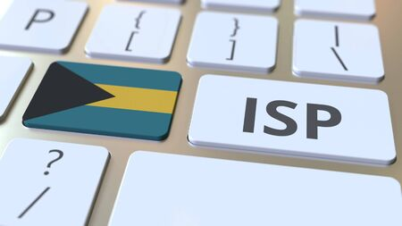 ISP or Internet Service Provider text and flag of the Bahamas on the computer keyboard. National web access service related 3D rendering Stock Photo