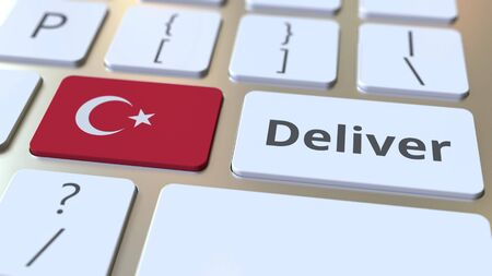 Deliver text and flag of Turkey on the computer keyboard. Logistics related 3D rendering