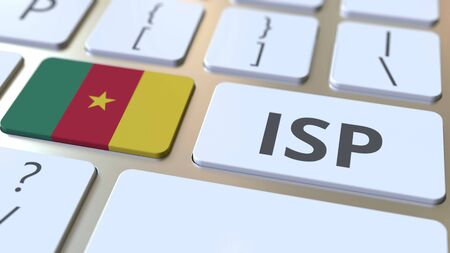 ISP or Internet Service Provider text and flag of Cameroon on the computer keyboard. National web access service related 3D rendering Imagens