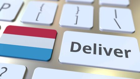 Deliver text and flag of Luxembourg on the computer keyboard. Logistics related 3D rendering