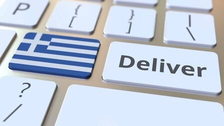 Deliver text and flag of Greece on the computer keyboard. Logistics related 3D rendering