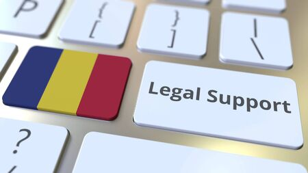 Legal Support text and flag of Romania on the computer keyboard. Online legal service related 3D rendering