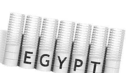 EGYPT country name on steel drums or industrial barrels for transporting liquid fuel, 3D rendering Standard-Bild