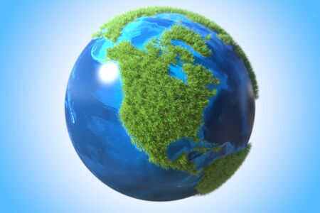 North America continent covered with green grass on the Earth globe. Ecological sustainable technology related conceptual 3D rendering