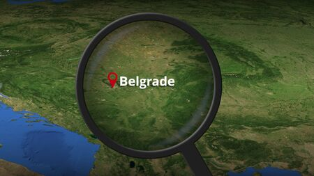Loupe finds Belgrade city on the map, 3d rendering