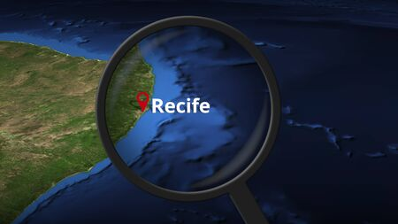 Loupe finds Recife city on the map, 3d rendering