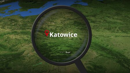 Katowice city being found on the map, 3d rendering