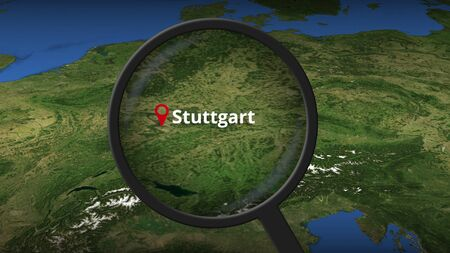 Loupe finds Stuttgart city on the map, 3d rendering