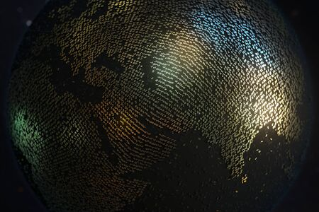 Asia and Middle East regions made of gold numbers on the Earth globe. Digital technology related conceptual 3D rendering