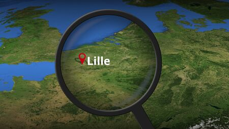 Lille city found on the map, 3d rendering