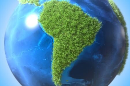South America continent covered with green grass on the globe. Ecology related conceptual 3D rendering 스톡 콘텐츠