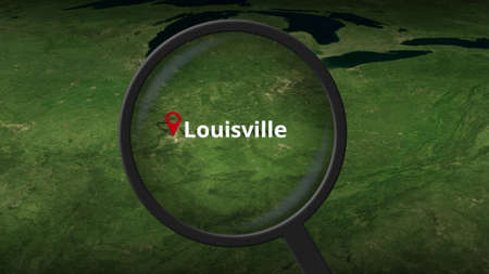 Loupe finds Louisville city on the map, 3d rendering