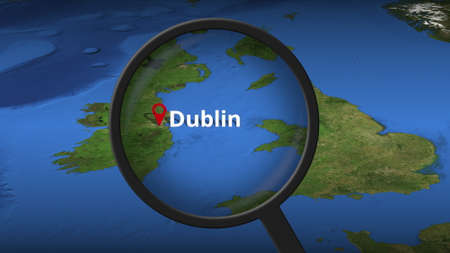 Dublin city being found on the map, 3d rendering Banco de Imagens