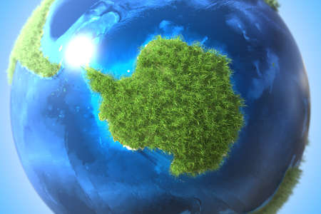 Antarctica continent covered with green grass on the globe. Dramatic climate change related conceptual 3D rendering
