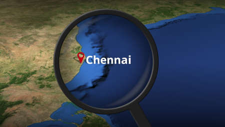 Chennai city found on the map, 3d rendering