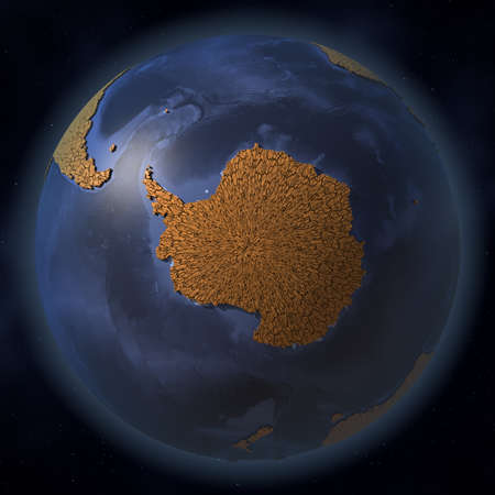 Continent of Antarctica covered with dry cracked earth. Disastrous climate change and global warming related conceptual 3d rendering
