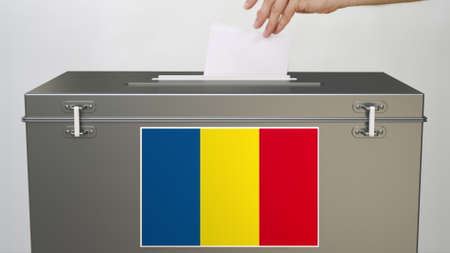 Ballot box with flag of Romania, election related 3d rendering 스톡 콘텐츠