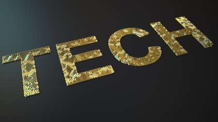 Gold bending wires form TECH word, 3d rendering