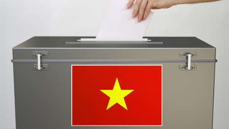 Putting paper ballot into ballot box with flag of Vietnam. Voting related 3d rendering