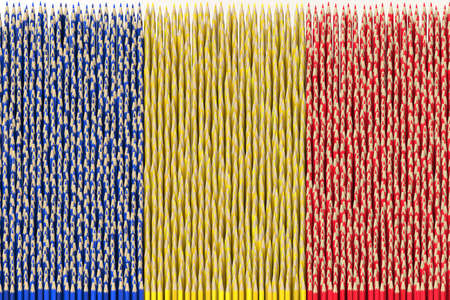 National flag of Romania made with color pencils. Creativity related 3D rendering