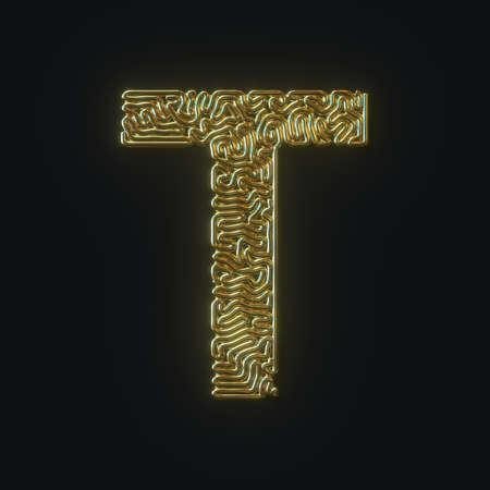 High resolution letter T symbol formed of gold bent wire. 3D rendering Reklamní fotografie