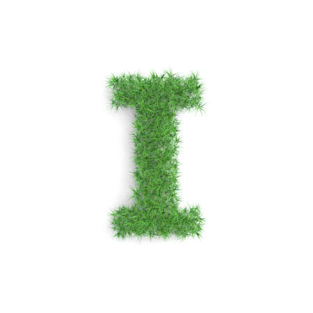 Letter I symbol made of green grass isolated on white background, part of the set. Sustainable technology or lifestyle related 3d rendering