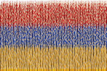 National flag of Armenia made with color pencils. Creativity related 3D rendering