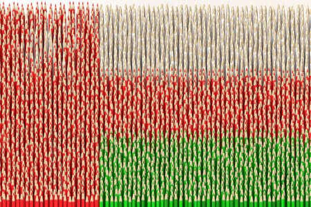 Flag of Oman made with color pencils. Art related 3D rendering