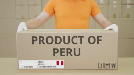 Big box with PRODUCT OF PERU printed text on the side Stockfoto